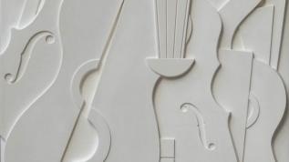 Sculpture murale : Panneau mural bas relief Guitares et violons