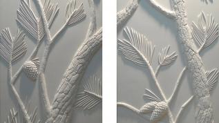 Sculpture murale : Panneau mural bas relief Les Pins