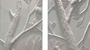 Sculpture murale : Panneau mural bas relief Les Pins parasol