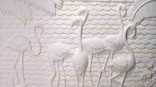 Sculpture en bas-relief Les flamants