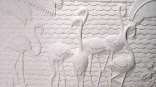 Sculpture en bas-relief Les flamants