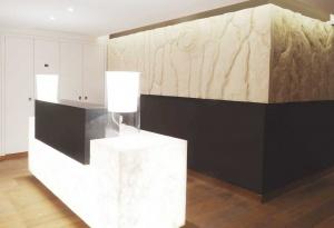 nos panneaux muraux décoratifs habillent également deux murs derriere le comptoir d'accueil des thermes marins de monaco