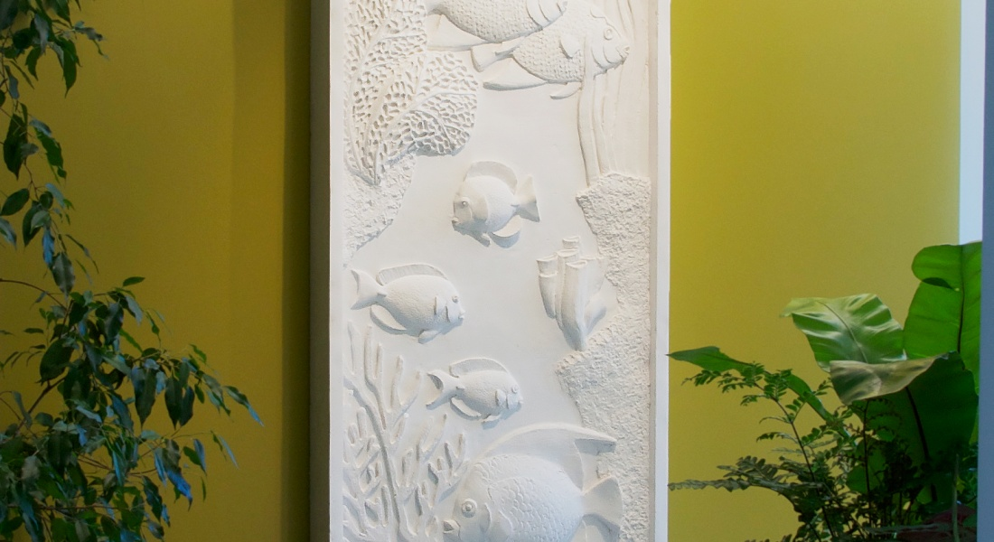 Sculpture murale : panneau mural bas relief poisson exotique mur