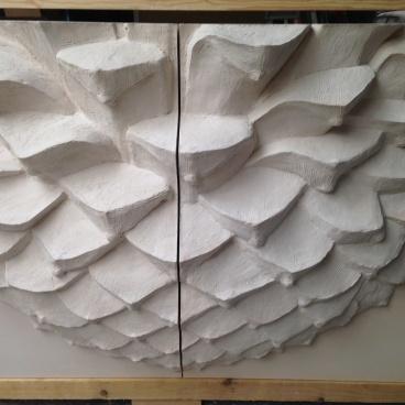 Technique montage en 4 pièces panneau mural pomme de pin